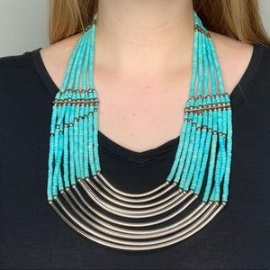 Turquoise Beaded Silver Boho Statement Necklace